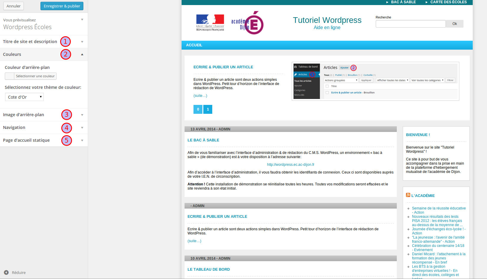 L'interface de personnalisation de WordPress